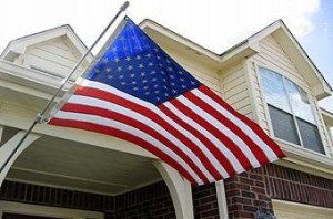 photo of a flag flying on a home